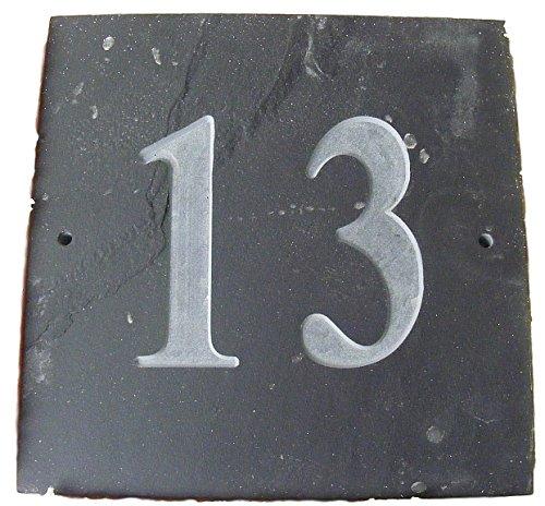 NUMBER 13 NATUREL GRIS ARDOISE NUMÉRO DE MAISON 15 x 15 CM PROFONDEUR PLAQUE GRAVÉE DE SURFACE NATURELLES UNE CRÉMAILLÈRE CADEAU (150 x 150 MM (N ° 13)