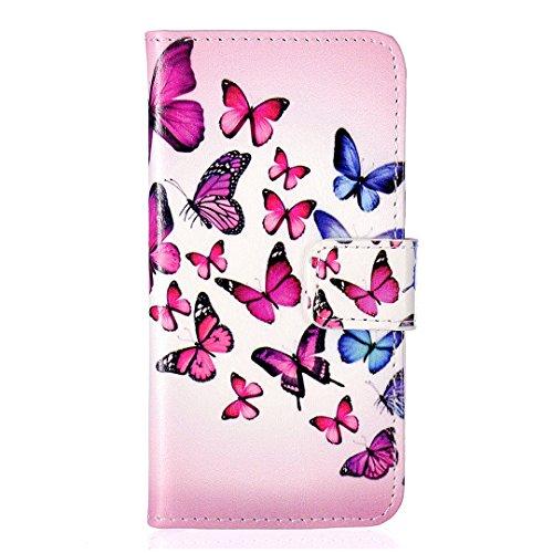 iPhone SE / 5 / 5S Hülle im Bookstyle, Xf-fly® PU Leder Flip Wallet Case Cover Schutzhülle für Apple iPhone SE / 5 / 5S Tasche Handytasche Schutz Etui Schale Handyhülle P-7