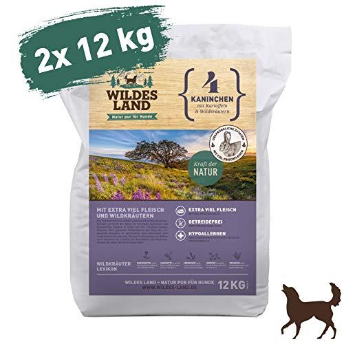 Wildes Land | Trockenfutter für Hunde | Nr. 4 Kaninchen | 24 kg | mit Kartoffeln und Wildkräutern | Glutenfrei & Hypoallergen | Extra viel Fleisch | Beste Akzeptanz und Verträglichkeit - Hühner Napf Futter