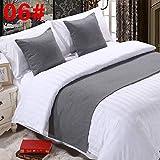 pomid Bett Renner Dekoration Bett Schal Bett Flagge, Bett Dekoration hochwertige einfarbig Bett Schwanz, weiß 06# (grau) Hanf, 2m Bett (Größe: 50x260cm)