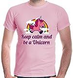 buXsbaum Herren T-Shirt Keep calm and be a Unicorn | Einhorn Regenbogen Bunt Fantasie Fabelwesen | L, Rosa