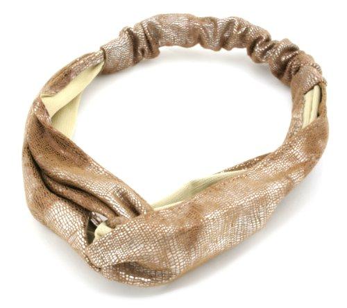 Wide Gold Foil Snake Print Head Wrap Headband Hair Accessories By Zest by Zest