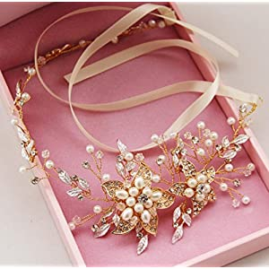CYY Braut Kopfschmuck Gold und Silber Diamant Legierung Haar Gürtel Hochzeit Kleid Zubehör Haar Ornamente