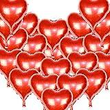 24 Stück Folienballons Luftballons Herzform Heliumballons 18Zoll Helium Rot Herzballons mit Seilen Folienballons Luftballons Heliumballons für Hochzeitsdekoration Geburtstag Valentinstag Hochzeit