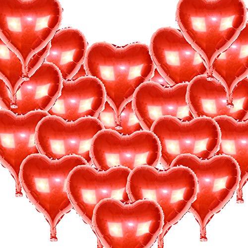 ons Luftballons Herzform Heliumballons 18Zoll Helium Rot Herzballons mit Seilen Folienballons Luftballons Heliumballons für Hochzeitsdekoration Geburtstag Valentinstag Hochzeit ()