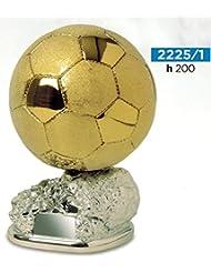 Trofeo fútbol balón D Oro Brillante y satinado sobre base argentata- H cm 20–Manivela–Made in Italy