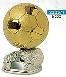 Trofeo fútbol balón D Oro Brillante y satinado sobre base argentata- H cm 20 - Manivela - Made in Italy