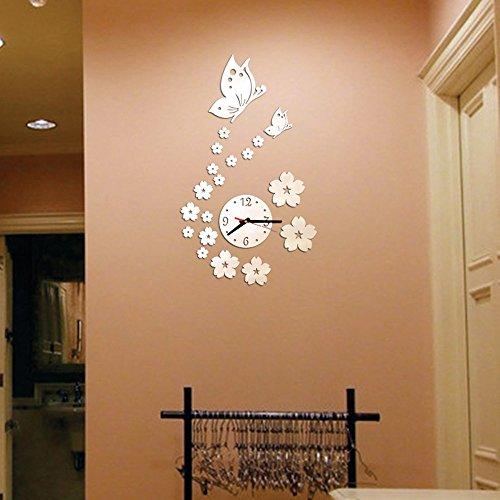 ODJOY-FAN Removibile Fai da Te Acrilico Adesivo murale a Specchio 3D Orologio Decorativo-Vogue stereoscopico-Orologio da Parete Fai-da-Te a Forma di Cuore, Specchio Adesivo da Parete per la casa