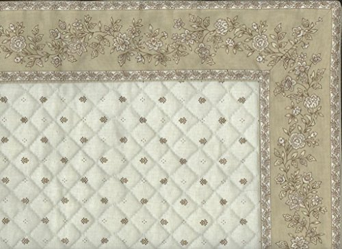 Chemin de table cadré matelassé exclusif ecru beige cadre fleurs taupe 1 m / 38 cm