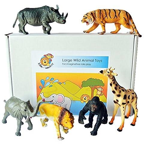 Safari jouets animal figurines en plastique - grand ensemble de 6