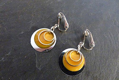 clip-pour-oreille-non-percee-graphiques-rondes-orange-et-argentees