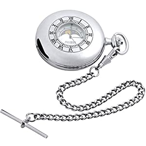 Moon Phase Pocket Watch Half Hunter Style Albert Chain Leather Case – Gift Box