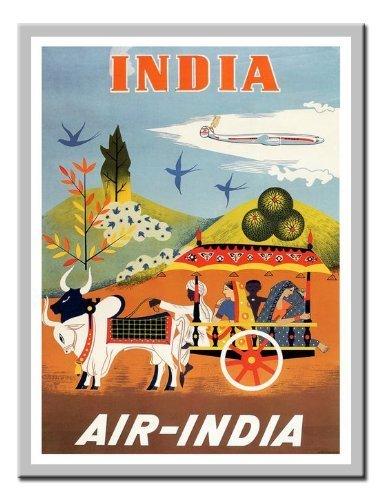 air-india-travel-impresion-plata-enmarcado-41-x-31-cms-aproximadamente-16-x-12-pulgadas
