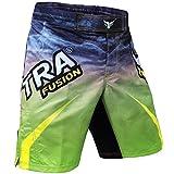 Mytra Fusion Fight Shorts für MMA, Boxen, Kickboxen, Muay Thai, Käfigkämpfe, Fitness, Training oder als Badehose (grün-schwarz, Größe S)