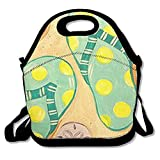DRVLTY Lunch Boxes Oil Painting Flip Flops Lunch Tote-Personalized Lunch Bags