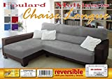 MONSERRAT Cubre Sofa Chaise Longue Reversible, Funda sofa chaise longue izquierdo y derecho (Chaise Longue, Gris Claro)