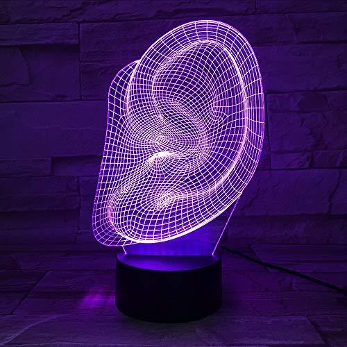Gwgdjk Abstrakte Ohr Form 3D Led Licht Schreibtisch Tischlampe Halloween Dekoration Geschenk Kind Urlaub Usb 7 Farben Ändern Lava Lampe