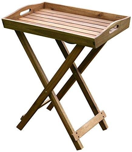 colourliving® Tablett mit Ständer Tisch Grilltisch Serviertablett Beistelltisch klappbar 60x40x70 cm Gartentisch (Mit Ständer Klapptische)