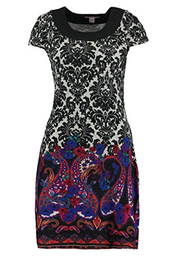 Anna Field Strickkleid mit Paisley Muster für Damen schwarz bunt – Minikleid mit Rundhals Ausschnitt, 40