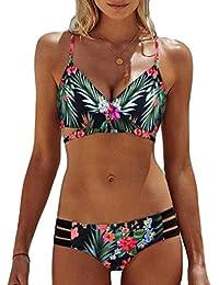 Sonnena sexy estampado floral bikini mujer de dos piezas,hombros planos cintura alta traje de bano push up talla extra ropa de playa sujetador…