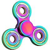 Fidget Hand Spinner QcoQce T1 Zinc Alloy Arco iris colorido EDC Tri Fidget Mano Spinning Toy Tiempo asesino Reductor de estrés de alta velocidad Focus Toy Regalos Perfecto para ADD, ADHD, ansiedad, aburrimiento y autismo Adultos Niños