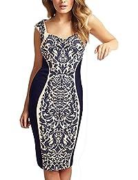 Floral Print Embellished Bodycon Dress- Blue