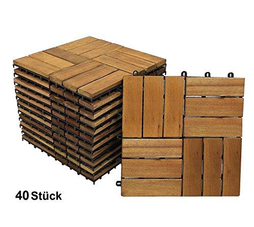 XXS® Akazie-Holzfliese 02, Terrassenfliese mit 12 Latten, 40er Set für 3,6 m², Mosaik-Muster, Holz-Fliese aus Akazie Hartholz, Balkon Bodenbelag mit Drainage Unterkonstruktion, Fliese für Garten Terrasse Balkon Setauswahl