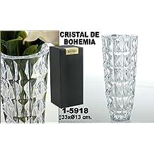 DonRegaloWeb - Jarrón de cristal transparente de Bohemia redondo con ondas
