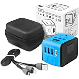Universal Travel Adapter - 3 USB Ports + Type-C - Worldwide - UK EU AU USA - with Carry Case and Charging Cable for Iphone and Android Take this Adaptor on your next Holiday for Multi Device Charging