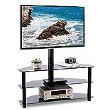 RFIVER Meuble TV avec Support pivotant Hauteur Réglable pour TV de 32 à 65 Pouces 3 Etagères en Verre Trempé pour Rangement de AV Accessoires Noir TW2002