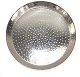 qm Orient Metall Tablett Serviertablett Silber Hammerschlag ~VDs 658