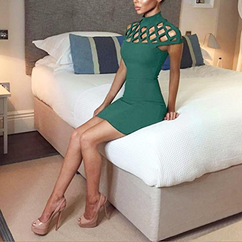 Transer ® Femmes sexy High Neck Bodycon Mesdames manches Slim Mini robe Vert