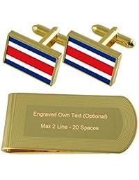 421bef2c99a7 Costa Rica Bandera tono Oro gemelos Money Clip grabado Set de regalo