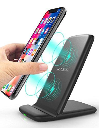 OCYCLONE Cargador Inalambrico Rápido, [2-Bobinas 10 W] Compatible para Galaxy S10/10+/10e/S9/S9+/S8/S8+/S7/Note9/8, para iPhone XS/XS Max/Xr/X/8/8 Plus y Teléfonos Qi-Enabled, Negro