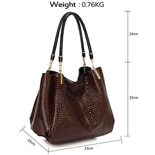 LeahWard Damen Designer Tote Taschen Qualität Celeb Style Schultertaschen Handtaschen für Frauen CW243 (Rot Schlangeneffekttasche 1) Kaffee Schlangeneffekttasche