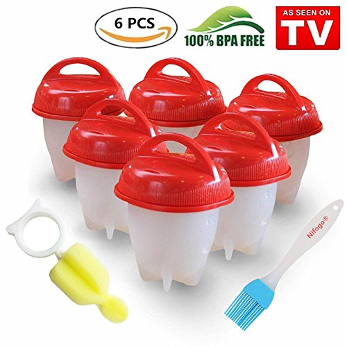 Egglettes Egg Cooker - Hervidor de Huevos Silicona Antiadherente, Sin BPA / Aprobado por la FDA / Aptas para el Lavavajillas, 6 Pcs (Rojo)