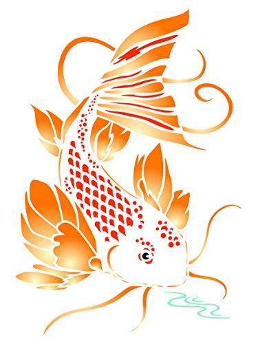Koi Schablone, wiederverwendbar, asiatische, Oriental Karpfen, Fisch Tier See Wasser Wand-Vorlage, auf Papier Projekte Scrapbook Bullet Tagebuch Wände Böden Stoff Möbel Glas Holz usw. m - See Tier