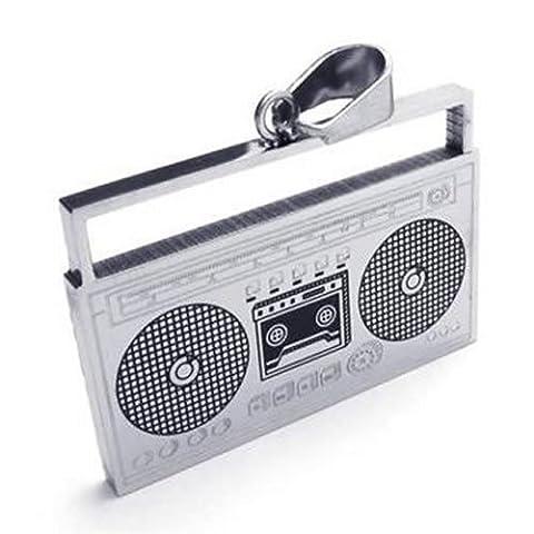 KONOV Schmuck Edelstahl Musik Radio Musik Spieler Anhänger mit 50cm Kette, Halskette für Herren Damen, Schwarz Silber