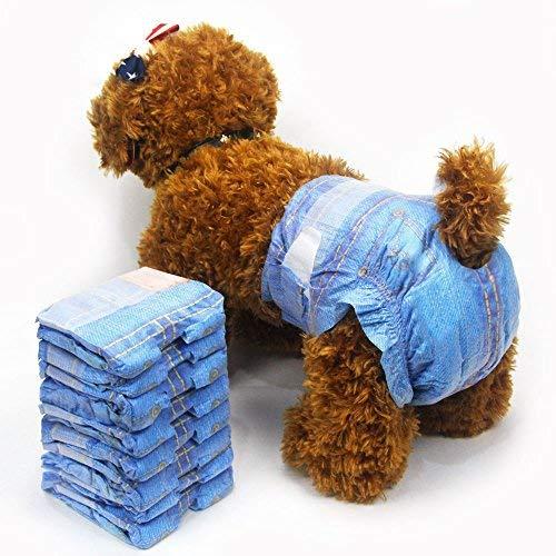 Haustier weich Weiblich Windeln supersaugfähig Denim Jeans Haustier Einwegwindel Cowboystil Welpen Hundewindeln 3 Taschen 24 Stück