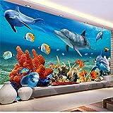 Guyuell Benutzerdefinierte 3D Mural Tapete Für Kinder Unterwasser Delphin Fisch Tapeten Aquarium Wand Hintergrund Zimmer Dekor Kinder Bettwäsche Zimmer-450Cmx300Cm