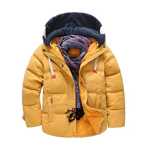 SellerFun Boy Winter Long Solid Hooded Padded Jacket Cotton Coat With Pockets