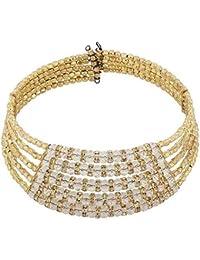 Aabhu Gold Plated Pearl Studded Handmade Western Wear Stylish Choker Necklace Jewellery Set For Women & Girls