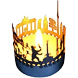 13gramm Berlin-Skyline Windlicht Schattenspiel Souvenir, 3D Edelstahl Aufsatz für Kerze inkl. Karte