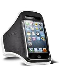 Fone-Case HTC One M7 verstellbaren Sport Fitness Jogging Arm Band Hülle (weiß)