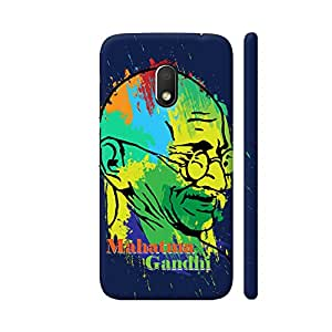 Colorpur Mahatma Gandhi Painting On Black Printed Back Case Cover for Moto G4 Play
