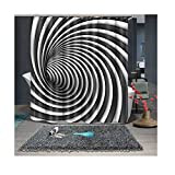 Bishilin Badewannen Duschvorhang 180x200 Kunst Schwarz und Weiß Streifen 3D Lustiger Duschvorhang aus Polyester-Stoff