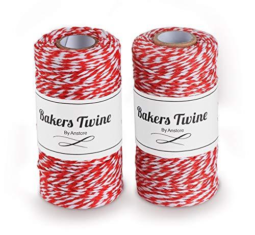 Anstore 200m Baumwolle Bäcker Schnur String Kordel Bakers Twine für Glas Flasche Geschenk Box Decor Craft Weihnachten Dekoration, Rot und Weiß -