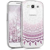 kwmobile Funda para Samsung Galaxy S3/S3 Neo - Case para móvil en TPU silicona - Cover trasero Diseño Sol hindú en violeta blanco transparente