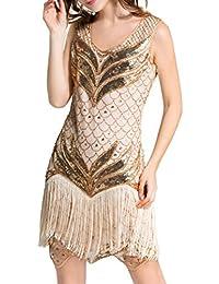 Dance Fairy Molliya Vestido de Lentejuelas Mujer 1920s Gatsby Disfraz Vestido con Flecos de Lentejuelas Flapper