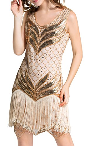 Molliya Pailletten Kleider Damen,Sequined Vintage Franse Franse Cocktail Party Kleid,Champagner...